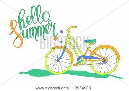 Lettering Hello Summer And The Bike
