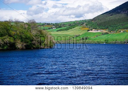 Countryside View On Lake Of Loch Ness In Scotland