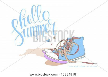 Lettering Hello Summer Shoes