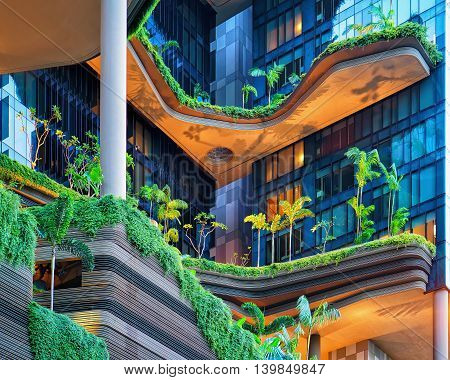 Modern Architecture Of A Building Balcony In Singapore
