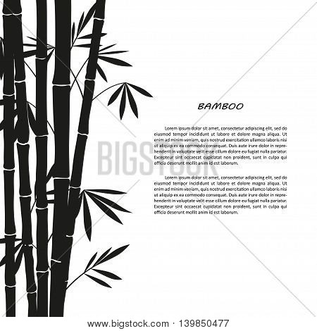 Black bamboo silhouette on a white background. Vector illustrator
