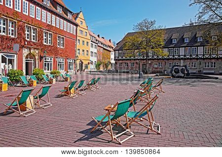 Ballhofplatz in Hanover in Germany. Hannover or Hannover is a city in Lower Saxony of Germany. Tourists nearby