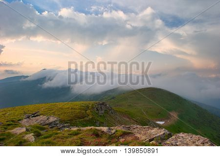 Fog After Rain In The Mountains
