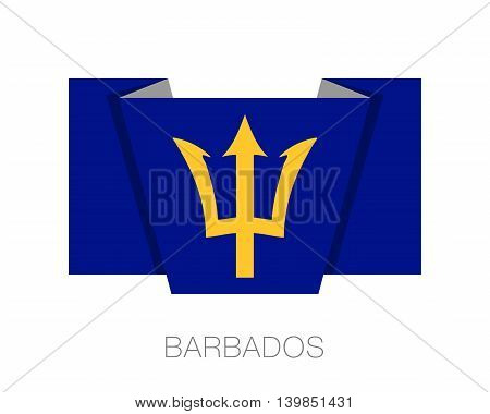 Barbados. Flat Icon Wavering Flag With Country Name