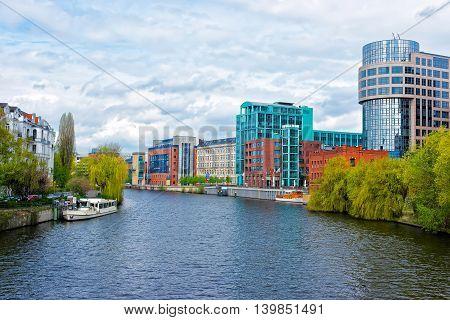 Office Buildings Along Spree River In Moabit In Berlin