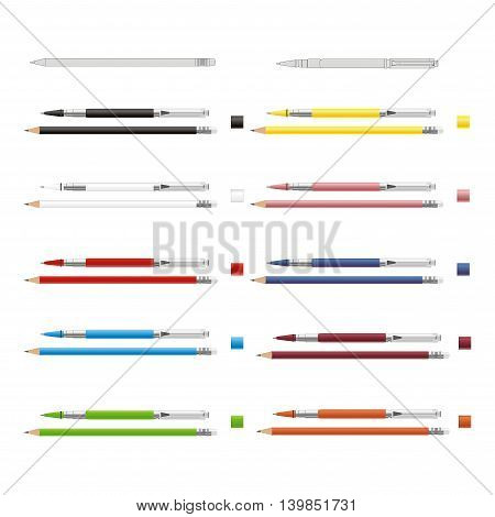 Big set of colored engineering and office pencils with erasers