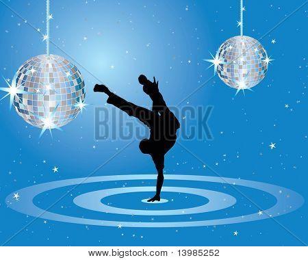 Tema de bailarina de discoteca. Ilustración de vector para el uso del diseño.