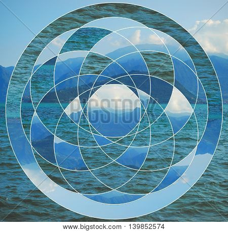 Abstract background with the image of the lake mountains and the sacred geometry symbol. Harmony spirituality unity of nature. Collage mosaic.
