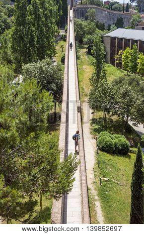 BARCELONA SPAIN - JULY 6 2016: View along the ancient city wall of Girona