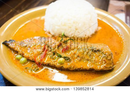 Yellow Curry ( Panang Curry ) With Grilled Saba ,thai Food