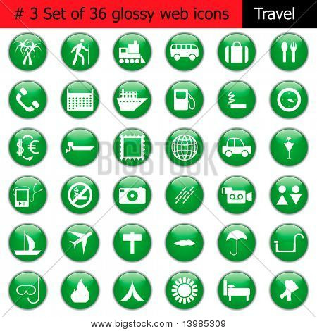 Collection of different icons for using in web design. Set #3. Travel.
