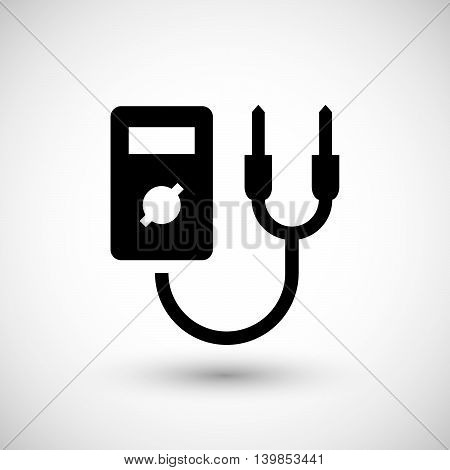 Electronic multimeter icon isolated on grey. Vector illustration