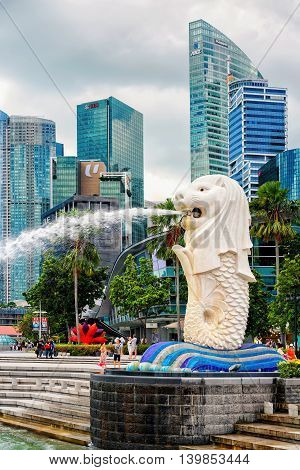 Merlion Statue Of Merlion Park At Marina Bay In Singapore