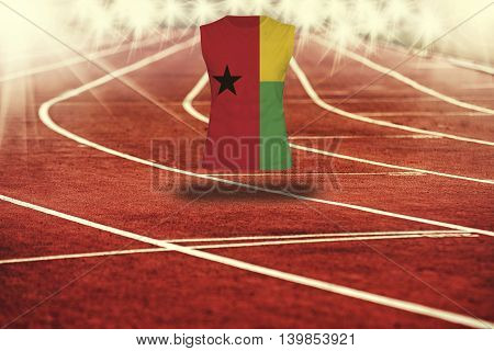Red Running Track With Lines And Guinea - Bissau Flag On Shirt