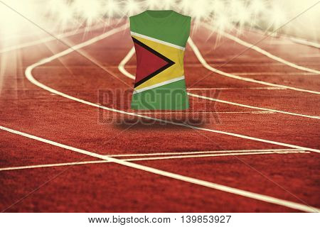 Red Running Track With Lines And Guyana Flag On Shirt