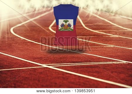 Red Running Track With Lines And Haiti Flag On Shirt