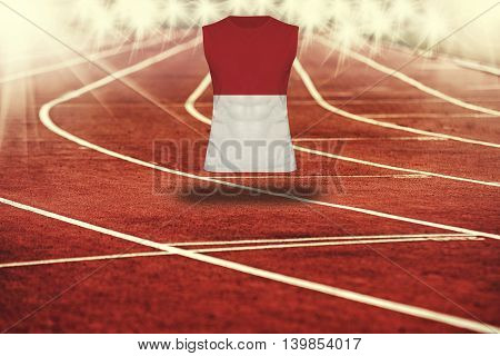 Red Running Track With Lines And Indonesia Flag On Shirt