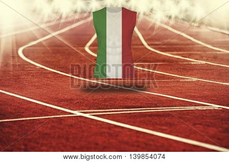 Red Running Track With Lines And Italy Flag On Shirt