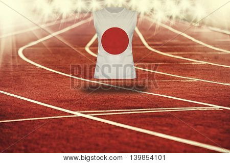 Red Running Track With Lines And Japan Flag On Shirt