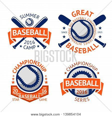 Set of old style Baseball Labels with ball and bats. Vector illustration