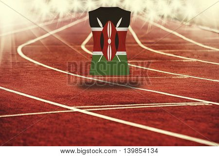 Red Running Track With Lines And Kenya Flag On Shirt