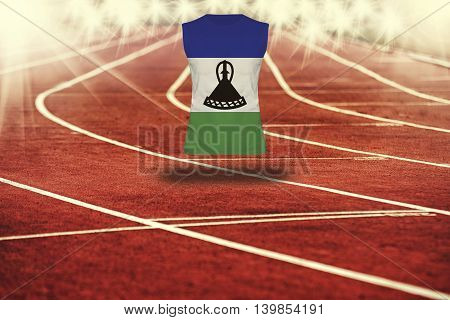Red Running Track With Lines And Lesotho Flag On Shirt