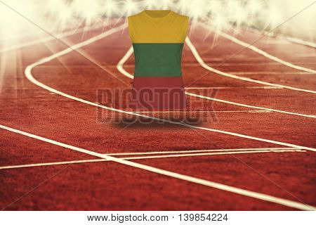 Red Running Track With Lines And Lithuania Flag On Shirt