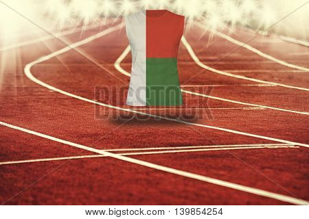 Red Running Track With Lines And Madagascar Flag On Shirt