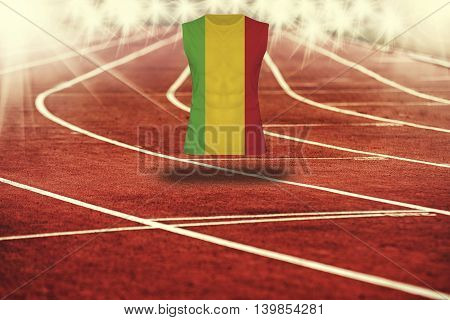 Red Running Track With Lines And Mali Flag On Shirt