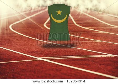Red Running Track With Lines And Mauritania  Flag On Shirt