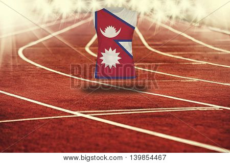 Red Running Track With Lines And Nepal Flag On Shirt