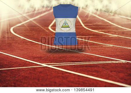 Red Running Track With Lines And Nicaragua Flag On Shirt