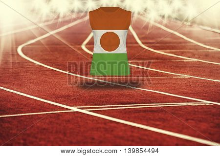 Red Running Track With Lines And Niger Flag On Shirt