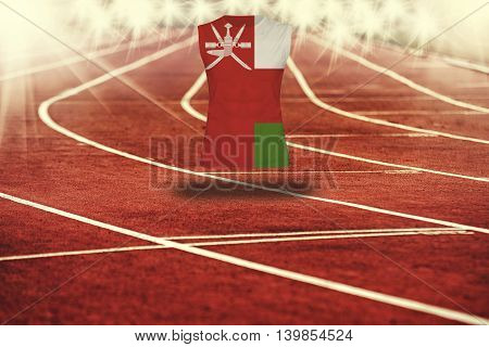Red Running Track With Lines And Oman Flag On Shirt