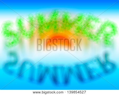Summer word with water reflection bokeh backdrop