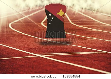 Red Running Track With Lines And Papua New Guinea Flag On Shirt
