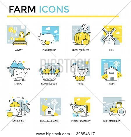 Farm icons, thin line, flat design