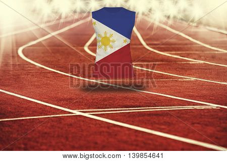 Red Running Track With Lines And Philippines Flag On Shirt
