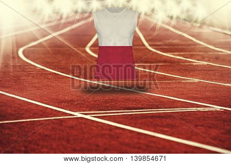 Red Running Track With Lines And Poland Flag On Shirt