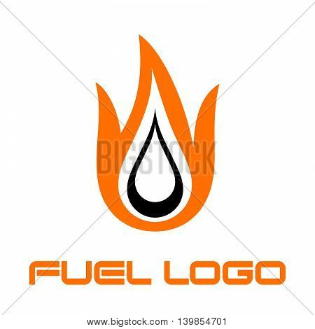 Burning fuel drop - logo for fuel station. Vector symbol