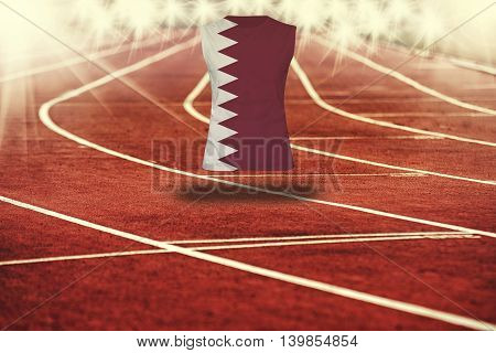 Red Running Track With Lines And Qatar Flag On Shirt