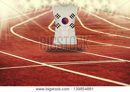 Red Running Track With Lines And Republic Of Korea Flag On Shirt
