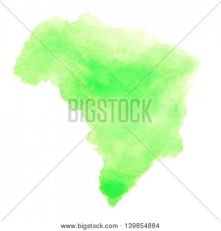 Green watercolor stain looks like Brazil on map