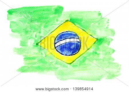Watercolor flag of Brazil (primitive)
