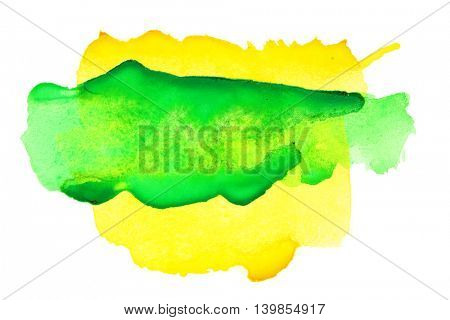 Yellow green abstract watercolor background
