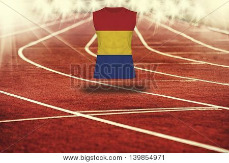 Red Running Track With Lines And Romania Flag On Shirt