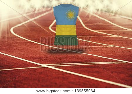 Red Running Track With Lines And Rwanda  Flag On Shirt