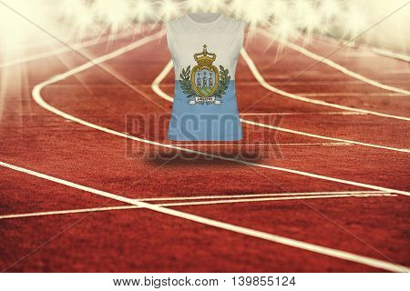 Red Running Track With Lines And San Marino Flag On Shirt
