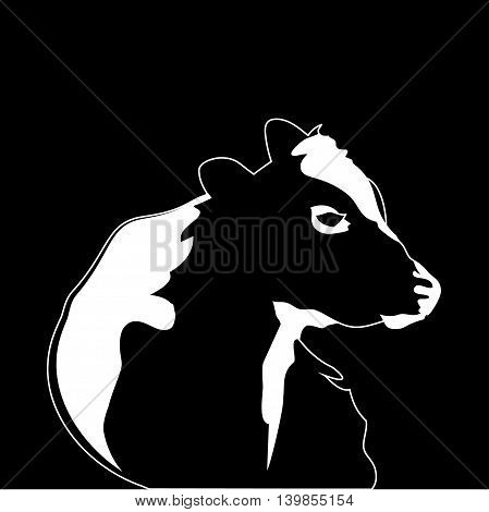 Abstract portrait of big cow. Black and white silhouette of cow on white background.
