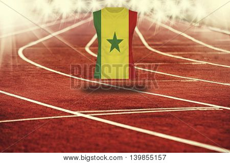 Red Running Track With Lines And Senegal Flag On Shirt